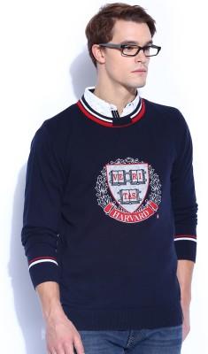 Harvard Printed Round Neck Casual Men's Dark Blue Sweater