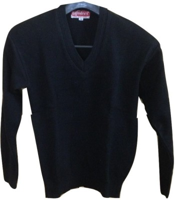 Rajindras Solid V-neck Casual Men's Black Sweater