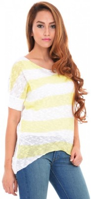 ESTANCE Striped Round Neck Casual Women's Yellow Sweater
