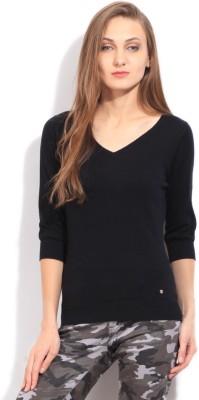 Arrow Solid V-neck Casual Women's Black Sweater
