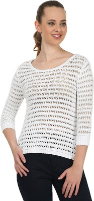 United Colors of Benetton Solid Round Neck Casual Women's White Sweater