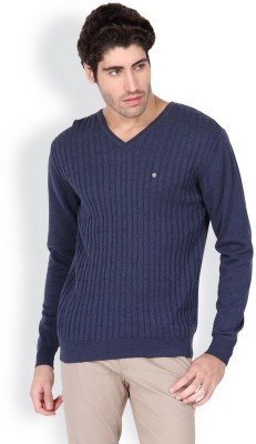 Blackberrys Solid V-neck Men's Blue Sweater