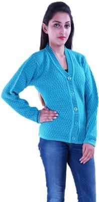 Pazaro Self Design V-neck Casual Women's Blue Sweater