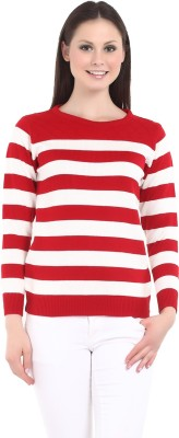 Miss Grace Striped Round Neck Casual Women's Red Sweater
