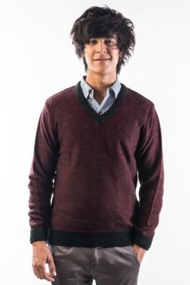 Srota Solid V-neck Casual Men's Maroon Sweater