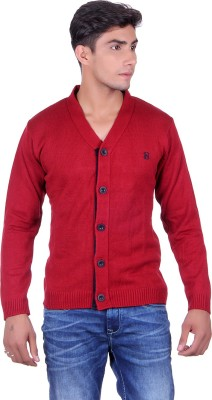 eWools Solid V-neck Party Men's Maroon Sweater