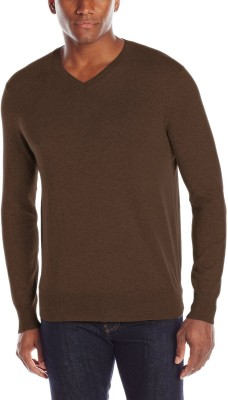 Being Fab Solid V-neck Casual Men's Brown Sweater