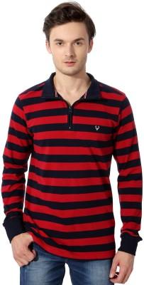 Allen Solly Striped Round Neck Men's Red Sweater