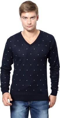 Peter England Polka Print V-neck Casual Men's Dark Blue Sweater