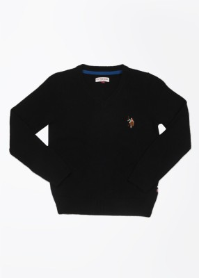 U.S. Polo Assn. Solid V-neck Casual Girls Black Sweater