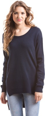 Shuffle Solid Round Neck Casual Women's Blue Sweater