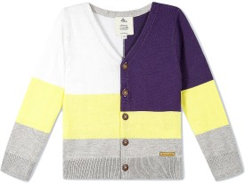 Cherry Crumble California Striped V-neck Casual Boys Multicolor Sweater