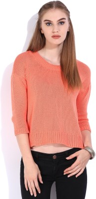 Lee Solid Round Neck Casual Womens Orange Sweater
