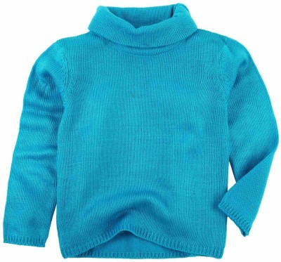 Oye Solid Round Neck Casual Girl's Blue Sweater