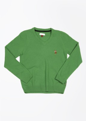 U.S. Polo Assn. Solid V-neck Casual Girl's Green Sweater