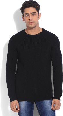 United Colors of Benetton Solid Round Neck Casual Mens Black Sweater