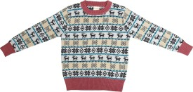 Crazeis Printed Round Neck Casual Boys Red, Beige Sweater
