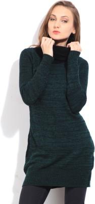 Arrow Self Design Casual Women's Black, Green Sweater