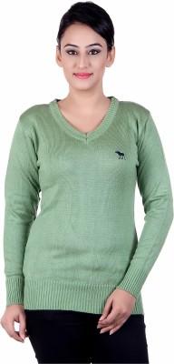 Japroz Solid V-neck Casual Girls Light Green Sweater