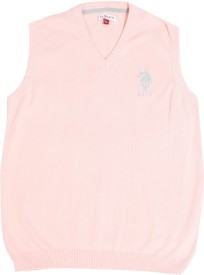 U S Polo Kids Solid V-neck Casual Boys Pink Sweater