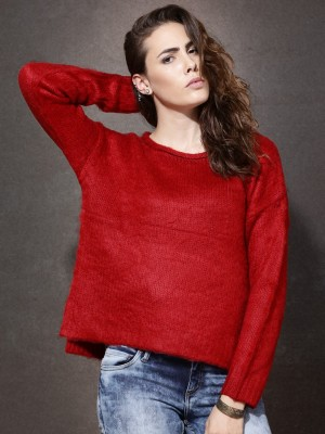 Roadster Solid Round Neck Casual Women's Red Sweater