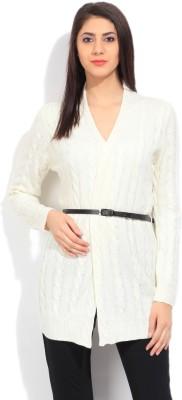 Elle Self Design Casual Women's White Sweater