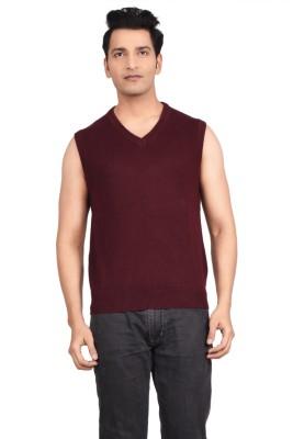 Hoffmen Solid V-neck Men's Maroon Sweater