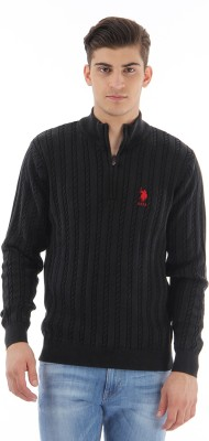 U.S.Polo Association Striped Turtle Neck Casual Mens Black Sweater