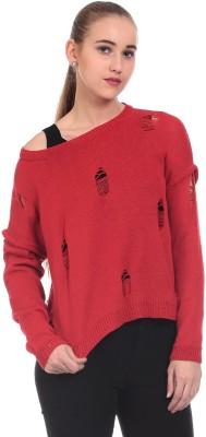 Saiints Solid Scoop Neck Casual Women's Red Sweater