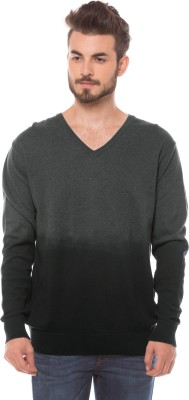 Shuffle Solid V-neck Casual Men's Grey Sweater