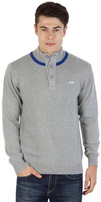 Fila Striped Round Neck Sports Men's Grey, Blue Sweater