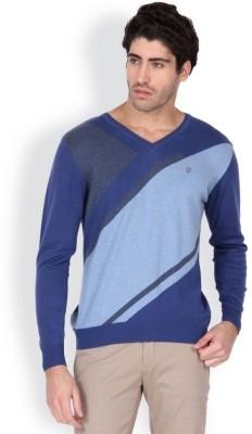 Blackberrys Printed V-neck Men's Blue Sweater