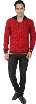 MetalGear Self Design V-neck Casual Men's Red Sweater
