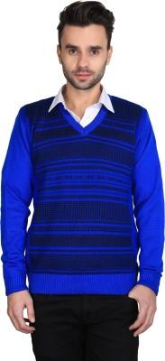 BRAVEZI Self Design V-neck Casual Men,s Blue Sweater