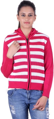 eWools Striped V-neck Party Women's Pink, White Sweater