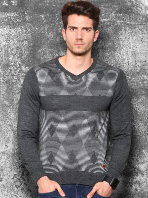 WROGN Self Design V-neck Casual Men's Grey Sweater