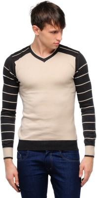 Yepme Solid V-neck Casual Men,s Beige, Grey Sweater