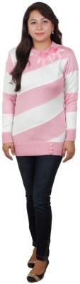 Fashion Club Striped Round Neck Women's Pink Sweater
