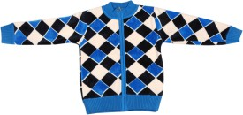 Kidax Woven Round Neck Casual Boys Blue, Multicolor Sweater