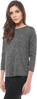 Shuffle Solid Round Neck Casual Women's Grey Sweater