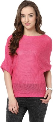 Yepme Solid Round Neck Casual Women's Pink Sweater