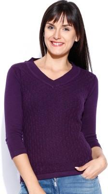 Manola Self Design V-neck Casual Women's Purple Sweater