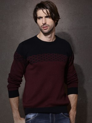 Roadster Solid Round Neck Casual Men's Black Sweater