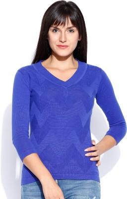 Manola Self Design V-neck Casual Women's Dark Blue Sweater