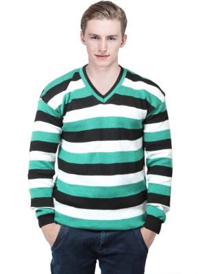 BrandTrendz Striped V-neck Casual Men's Green Sweater