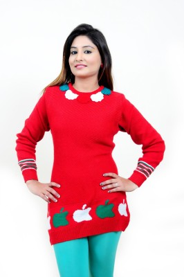 Laadli Ji Woven Round Neck Women,s Red Sweater