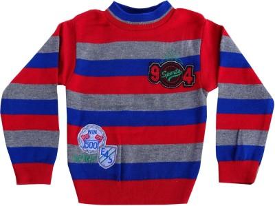 AD & AV Striped Round Neck Festive Girl's Multicolor Sweater