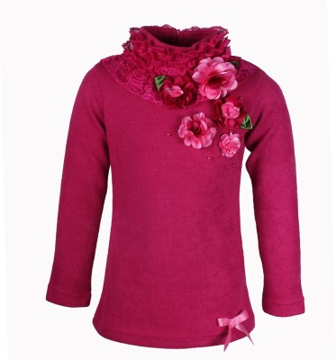 Cutecumber Embellished Turtle Neck Party Girl's Pink Sweater