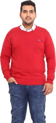 John Pride Solid V-neck Men's Red Sweater