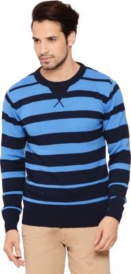 Northern Lights Striped Round Neck Men's Blue Sweater